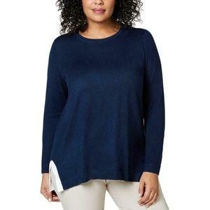 Charter Club Knit Split Hem L/S Sweater Blue 1X